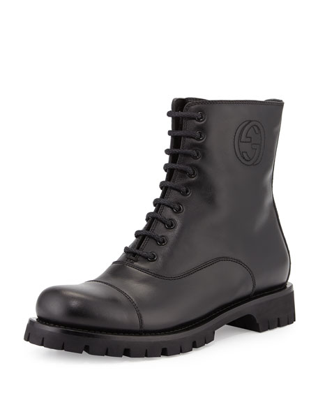 Gucci Royan Leather Combat Boot, Black