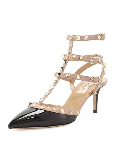 Rockstud Patent Leather Sandal, Black