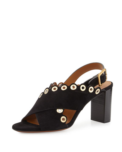Eyelet-Studded Suede Sandal, Black