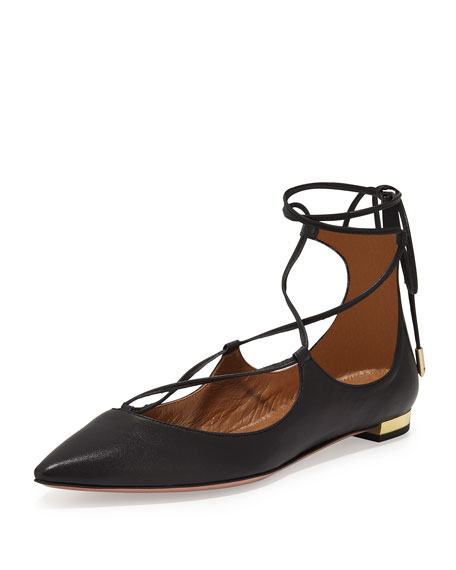 Aquazzura Christy Lace-Up Pointed-Toe Flat, Black