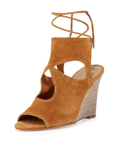 Aquazzura Sexy Thing Suede 85mm Wedge Sandal, Cognac