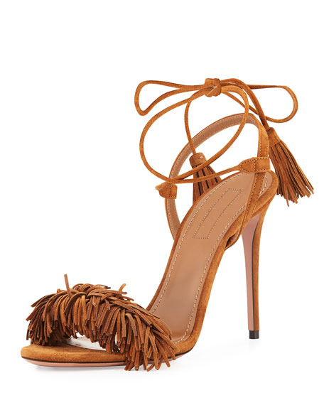 Aquazzura Wild Thing Suede 105mm Sandal, Cognac