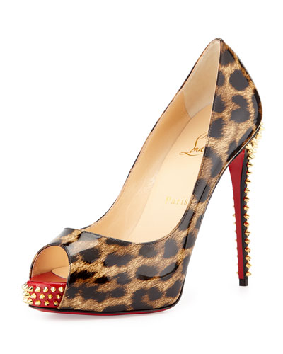 NVPS Leopard-Print Red Sole Pump, Brown