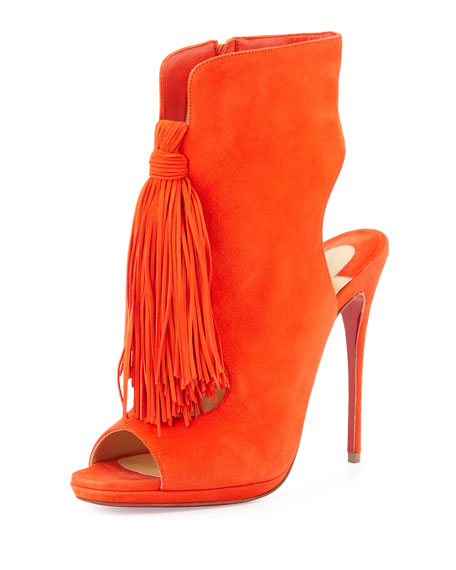 Christian Louboutin Ottaka Suede Fringe Open-Toe Red Sole