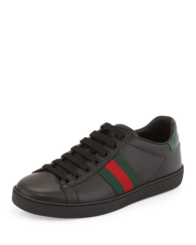 Gucci New Ace Leather Sneaker, Black