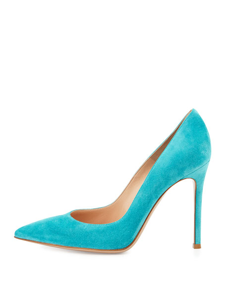 Gianvito Suede Point-Toe 105mm Pump, Cyan