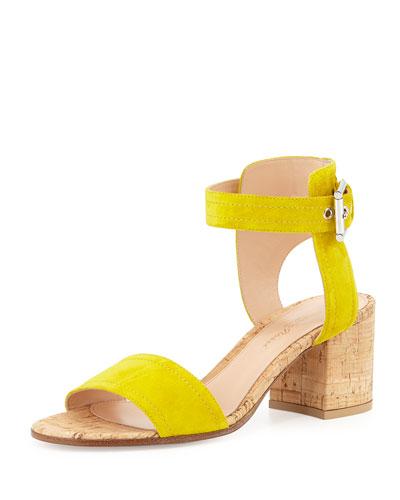 Suede Cork-Heel City Sandal, Mustard