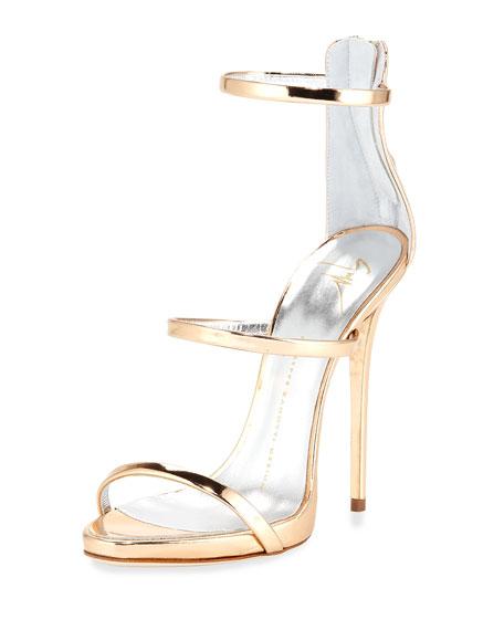Metallic Three-Strap Evening Sandal, Ramino