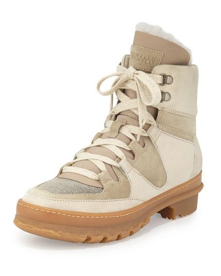 Brunello Cucinelli Monili Suede Hiker Boot, Beige