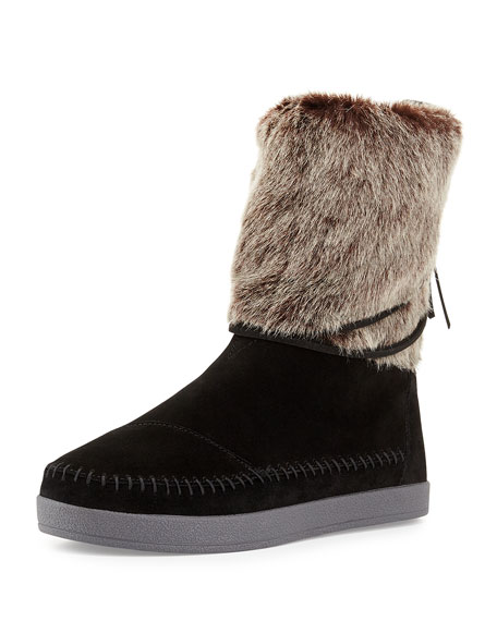 TOMS Nepal Suede Boot with Faux-Fur Cuff, Black