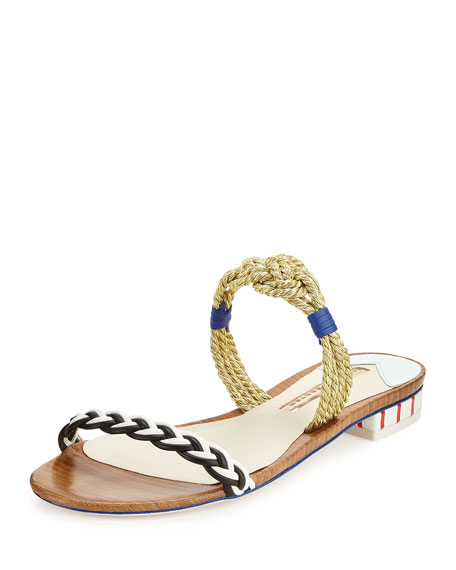 Sophia Webster Celeste Nautical Flat Slide Sandal, Multi
