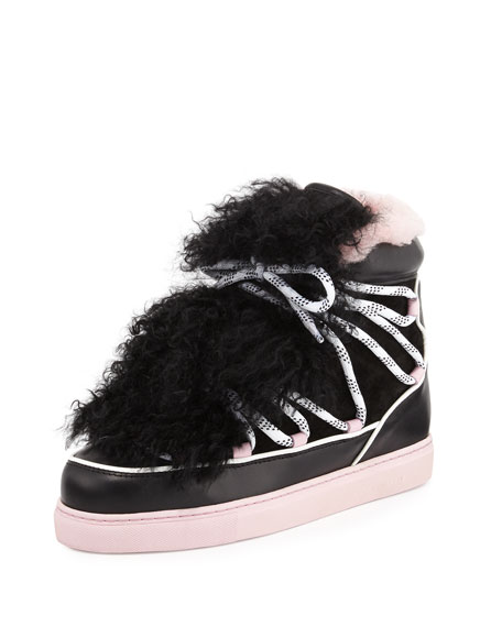 Sophia Webster Quentin Two Tone Fur Trim Sneaker Black