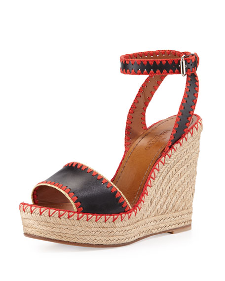 ValentinoWhipstitch Ankle-Wrap Espadrille Sandal, Nero/Coral/Avocado