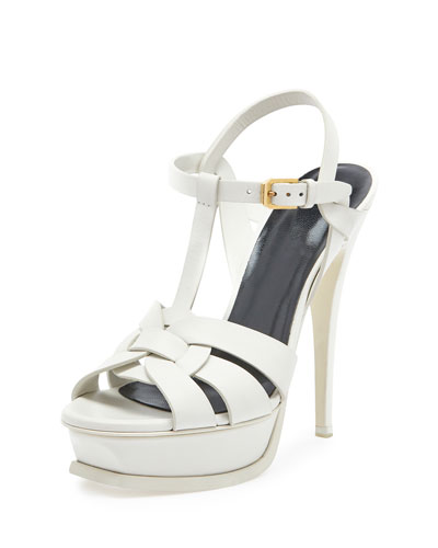 Tribute Leather 135mm Platform Sandal, Porcelain