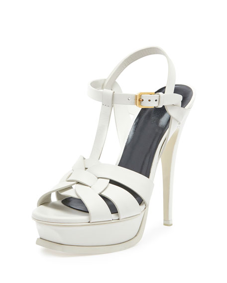 Saint Laurent Tribute Leather 135mm Platform Sandal, Porcelain
