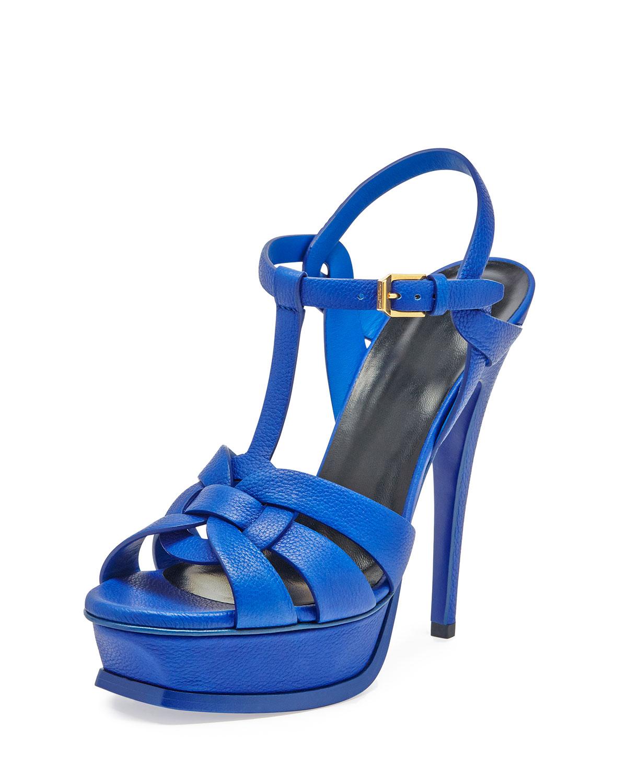 89160b77e08 Saint Laurent Tribute Leather 135mm Platform Sandal, Overseas Blue ...