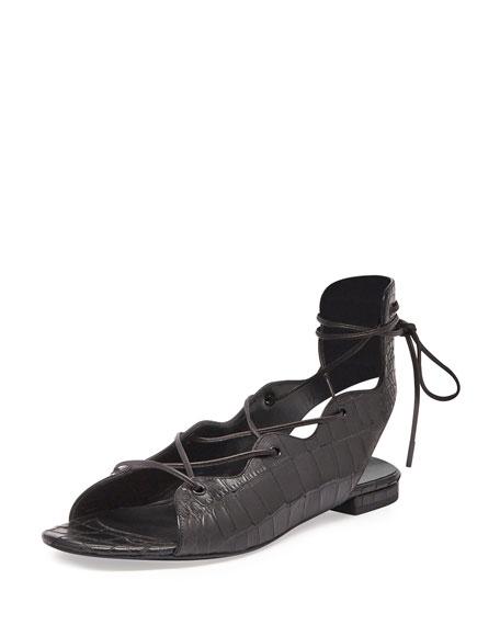 Saint Laurent Babies Croc-Embossed Lace-Up Flat, Black