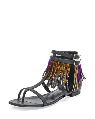 Nu Pieds Multi-Fringe Sandal, Black/Tan/Violet
