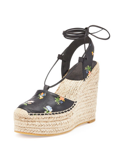 Grunge Flower-Print Leather Espadrille, Black/Multi