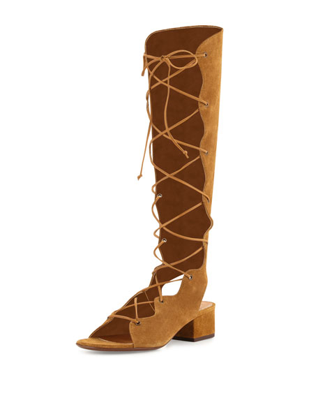 Saint Laurent Babies Suede Knee-High Gladiator Sandal, Tan