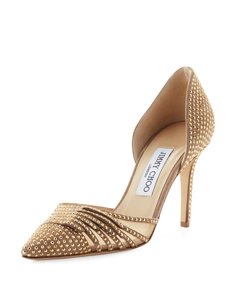 Jimmy Choo Kyra Studded 85mm d'Orsay Pump, Nude/Gold