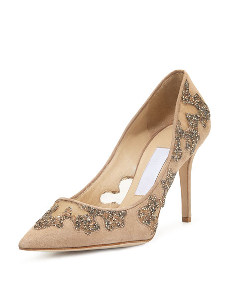Jimmy Choo Karmel Crystal Mesh 85mm Pump, Nude