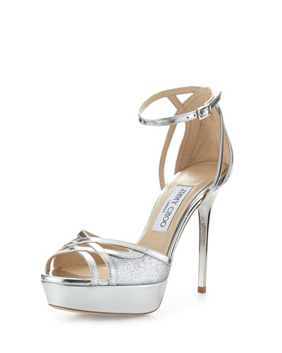 Laurita Metallic Glitter 115mm Sandal, Silver