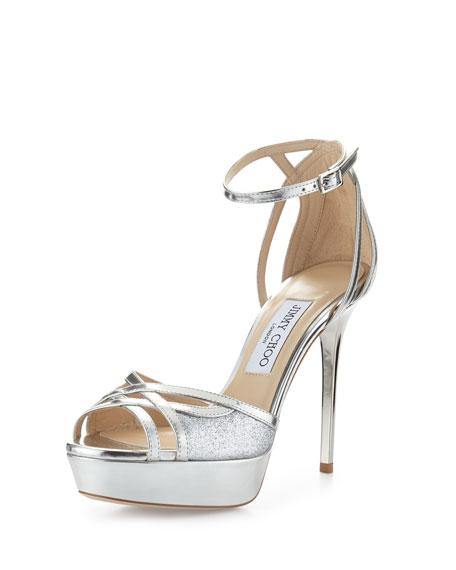 Jimmy Choo Laurita Metallic Glitter 115mm Sandal, Silver