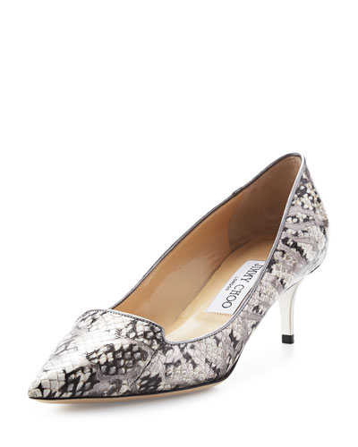 Allure Snakeskin Kitten-Heel Pump, Natural/Silver