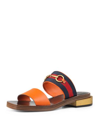 Querelle Flat Horsebit Web Slide Sandal, New Orange
