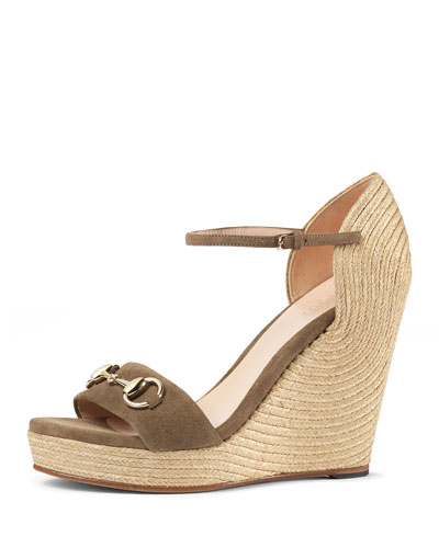 c89d9a10240 Gucci Carolina Suede Wedge Espadrille Sandal