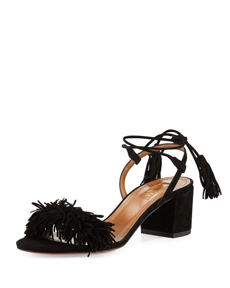 Aquazzura Wild Thing Suede 50mm City Sandal, Black