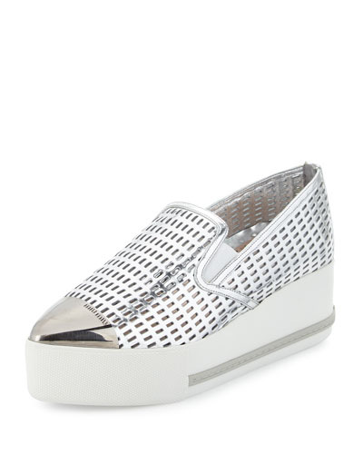 Perforated Cap-Toe Platform Sneaker, Silver (Argento)