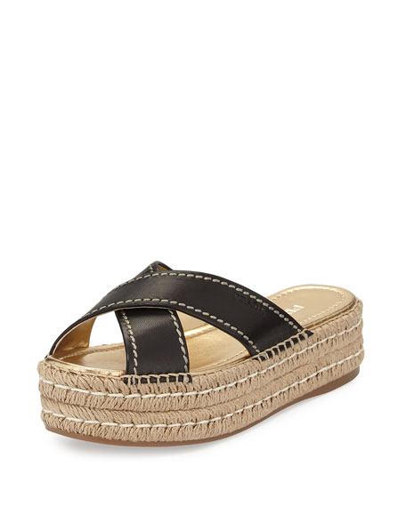 Prada Leather Crisscross Espadrille Slide Sandal