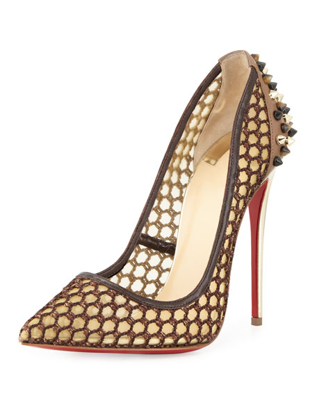 replica man christian louboutin - Christian Louboutin Guni Knotted 100mm Red Sole Pump, Marron Glace