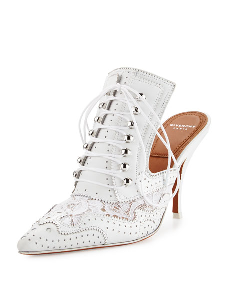 Givenchy Maremma Leather & Lace 90mm Mule, White