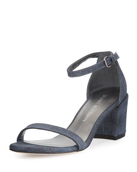 Stuart Weitzman Simple Denim Chunky-Heel Sandal, Navy