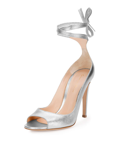 Gianvito Rossi Metallic Leather Ankle-Wrap Pumps, Silver