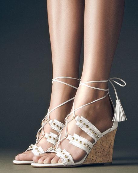 Tulum Studded Fringe Wedge Sandal, White