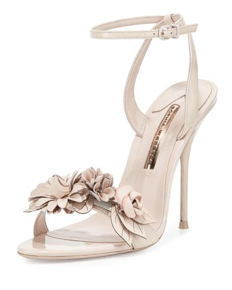 Sophia Webster Lilico Floral Leather 105mm Sandals, Nude