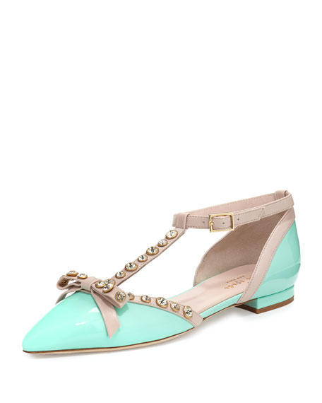 Image 1 of 4: becca jeweled t-strap Ballet Flat