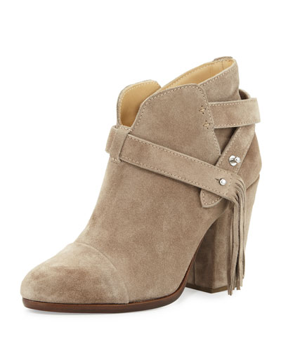 Harrow Fringe Suede Ankle Boot, Warm Gray