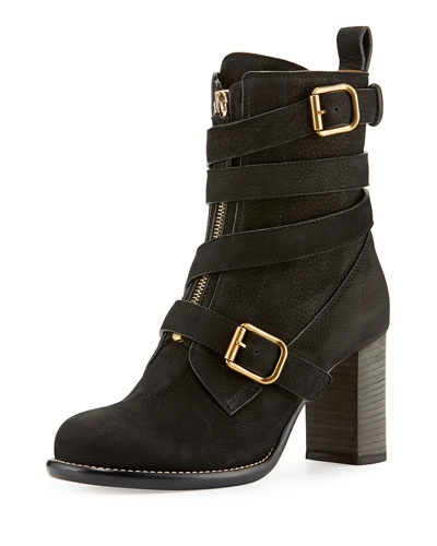 Front-Zip Ankle-Wrap Bootie, Black