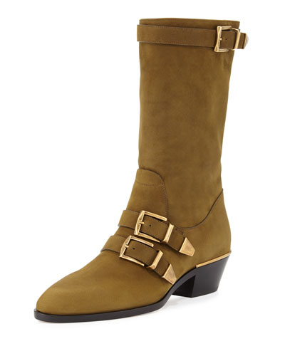 Suede Buckle Mid-Calf Boot, Dark Khaki