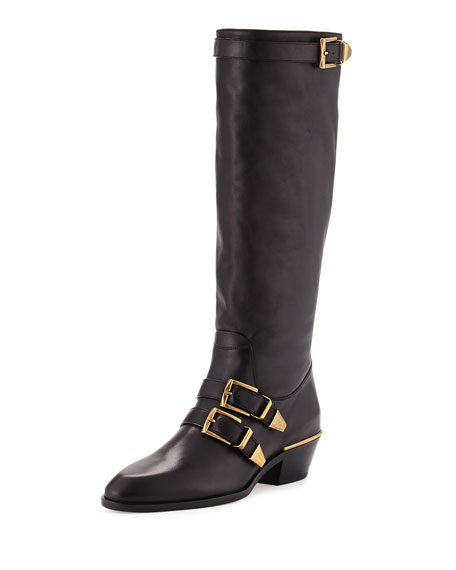 Chloe Leather Buckle Knee Boot, Black