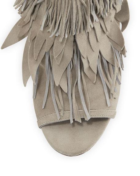 Fringe Suede 105mm Sandal, Light Gray