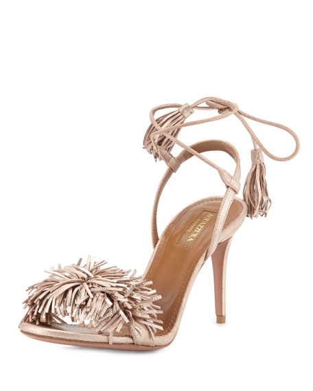 Aquazzura Wild Thing Suede 85mm Sandal, Rose Gold