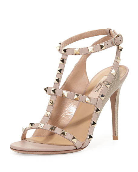 Valentino Rockstud Colorblock Caged 100mm Sandal, Sasso/Poudre
