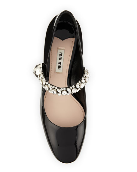 Jewel-Strap Mary Jane Pump, Black