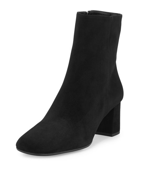 PRADA Suede Square-Toe Ankle Boot, Black (Nero) at Neiman Marcus